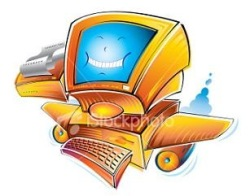 """cartoon """"happy PC with wings"""""""