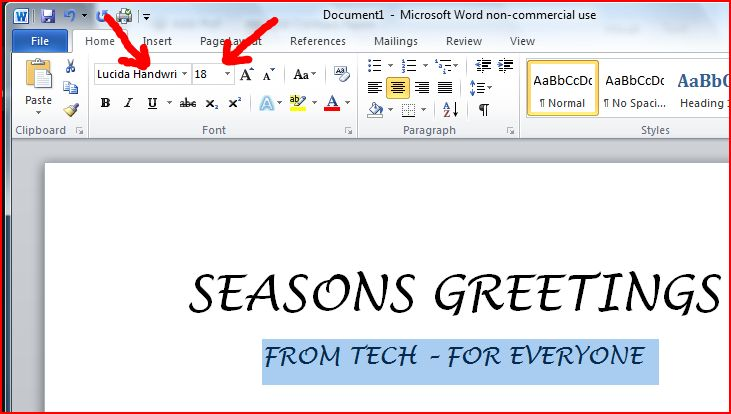 I Highlighted Seasons Greetings And Used The Font Drop Down Arrow Selected A Cursive Lucida Handwriting Explore Words Various Fonts